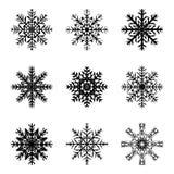 Icône de silhouette de flocon de neige, symbole, conception Hiver, illustration de vecteur de Noël d'isolement sur le fond blanc Photo libre de droits