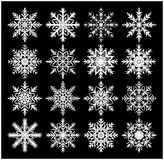 Icône de silhouette de flocon de neige, symbole, conception Hiver, illustration de vecteur de Noël sur le fond noir Photo stock
