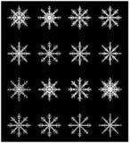 Icône de silhouette de flocon de neige, symbole, ensemble de conception Hiver, illustration de vecteur de Noël sur le fond noir Photo libre de droits