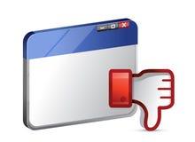 Icône de site Web d'aversion. Le pouce signent vers le bas Photographie stock libre de droits
