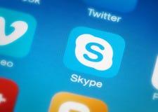 Icône de Skype au téléphone intelligent images stock