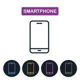 Icône de smartphone de vecteur Ligne mince simple icône pour le web design Image stock
