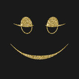 Icône de sourire avec l'effet de scintillement, d'isolement sur le fond noir Images libres de droits