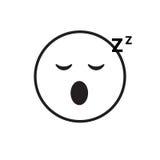 Icône de sourire d'émotion de personnes de sommeil de visage de bande dessinée illustration stock