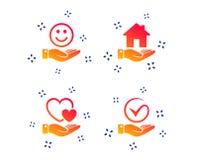 Ic?ne de sourire et de main Coeur, symbole de coutil Vecteur illustration stock