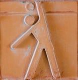 Icône de sport réglée sur la brique de poterie de terre Photographie stock