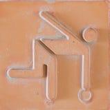 Icône de sport réglée sur la brique de poterie de terre Photos stock