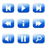 Icône de Square Vector Blue de contrôleur de multimédia Photos libres de droits