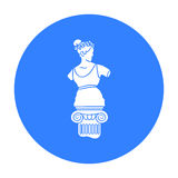 Icône de statue dans le style noir d'isolement sur le fond blanc Illustration de vecteur d'actions de symbole de musée illustration libre de droits
