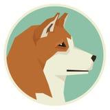 Icône de style d'Akita Inu Geometric de collection de chien ronde Images stock