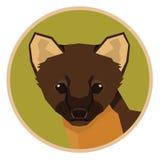 Icône de style de Marten Geometric de collection d'animaux sauvages ronde Photos libres de droits