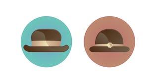 Icône de symbole d'homme et de femme avec le chapeau Photographie stock libre de droits