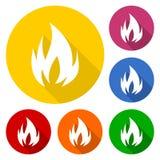 Icône de symboles de feu réglée avec la longue ombre Photo stock