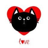Icône de tête de chat noir Coeur rouge Personnage de dessin animé drôle mignon Carte de voeux de mot d'amour de jour de valentine illustration de vecteur