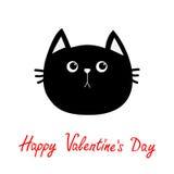 Icône de tête de chat noir Personnage de dessin animé drôle mignon Texte heureux de rouge de jour de valentines Carte de voeux Ém illustration libre de droits