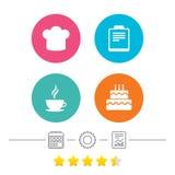 Icône de tasse de café Chef Hat Symbol Gâteau d'anniversaire Images stock