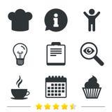 Icône de tasse de café Chef Hat Symbol Petit gâteau de petit pain Photos stock