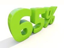 icône de taux de pourcentage de 65% sur un fond blanc Photographie stock libre de droits