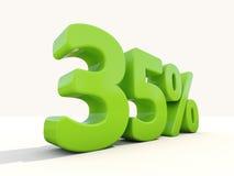 icône de taux de pourcentage de 35% sur un fond blanc Image libre de droits
