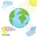 Icône de temps de globe avec jour et nuit illustration de vecteur