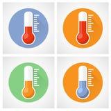 Icône de thermomètre avec l'échelle Images stock