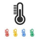 Icône de thermomètre Style plat de conception Images stock