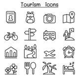 Icône de tourisme réglée dans la ligne style mince illustration de vecteur