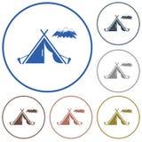 Icône de touristes de tente Images stock