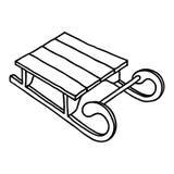 Icône de traîneau Illustration tirée par la main de vecteur sur le fond blanc illustration stock