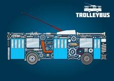 Icône de trolleybus des composantes principales détaillées Image libre de droits