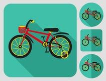 Icône de vélo d'enfants Longue conception plate d'ombre Photo stock