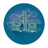 Icône de vacances de Halloween de cimetière de cimetière Photographie stock