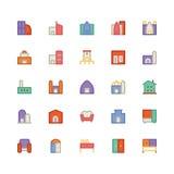 Icône 5 de vecteur de bâtiment et de meubles illustration libre de droits