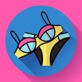Icône de vecteur de bikini de maillot de bain de femmes à la mode Style plat de conception Image libre de droits
