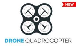 Icône de vecteur de bourdon de Quadrocopter Hélicoptère commandé de quadrocopters de sécurité de vol Image libre de droits
