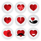 Icône de vecteur de coeur indiquant l'amour, unité, romance, passio Image libre de droits