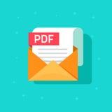 Icône de vecteur de dossier de PDF d'isolement, enveloppe avec le document de papier de PDF Images libres de droits