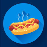 Icône de vecteur de hot-dog illustration plate d'aliments de préparation rapide de hot dog Image libre de droits