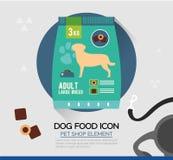 Icône de vecteur de nourriture sèche de chien Casse-croûte d'animal familier dans les poches Image stock
