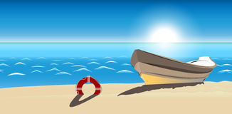 Icône de vecteur de plage sablonneuse de bateau de paysage marin d'isolement Photo stock