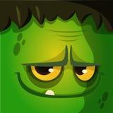 Icône de vecteur de visage de zombi de monstre de bande dessinée Avatars carrés mignons pour Halloween Images libres de droits