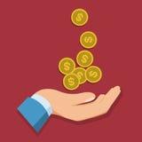 Icône de vecteur du dollar d'argent de prise de main Images stock
