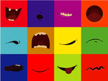 Icône de vecteur réglée - la bande dessinée dit du bout des lèvres, heureux, effrayé, des cris, heureux, sourire, grimace, riant Photo libre de droits
