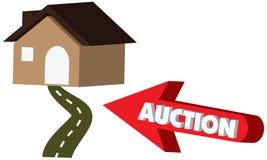 icône de vente aux enchères du vecteur 3D avec une flèche rouge indiquant la maison Photo stock