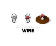 Icône de vin dans le style différent Images libres de droits