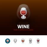 Icône de vin dans le style différent Photo libre de droits