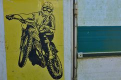 Icône de vintage de Motercyclist rétro photos libres de droits
