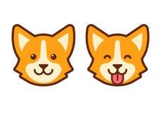 Icône de visage de chien de corgi illustration stock
