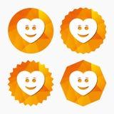 Icône de visage de coeur de sourire Symbole souriant Photographie stock libre de droits