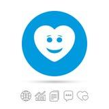 Icône de visage de coeur de sourire Symbole souriant illustration stock